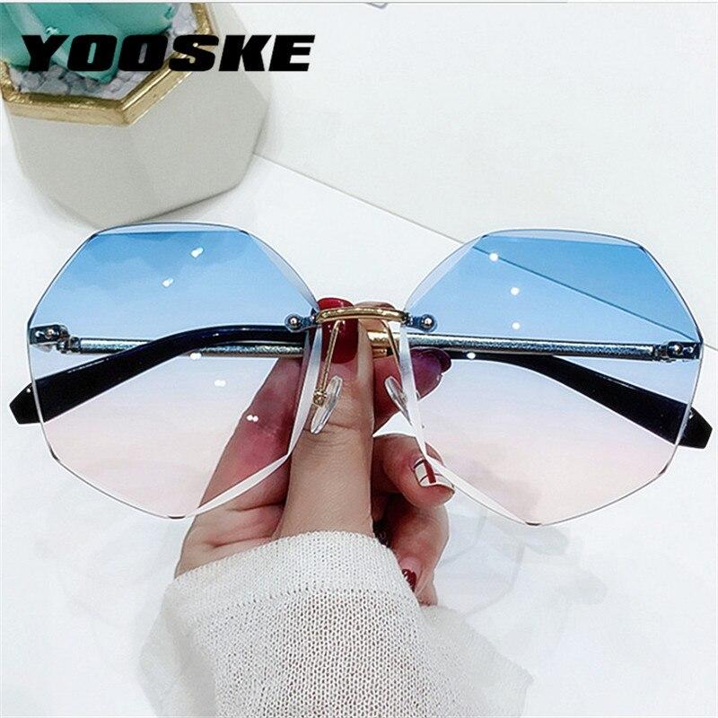 YOOSKE женские солнцезащитные очки без оправы модные градиентные линзы Солнцезащитные очки женские винтажные дужки из сплава классические дизайнерские Оттенки UV400|Женские солнцезащитные очки|   | АлиЭкспресс
