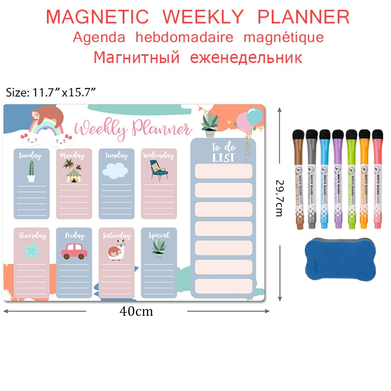 Magnetic Weekly Monthly Planner Calendar Fridge Magnet Stickers Schedule Message Drawing Whiteboard for Wall Erasable Markers