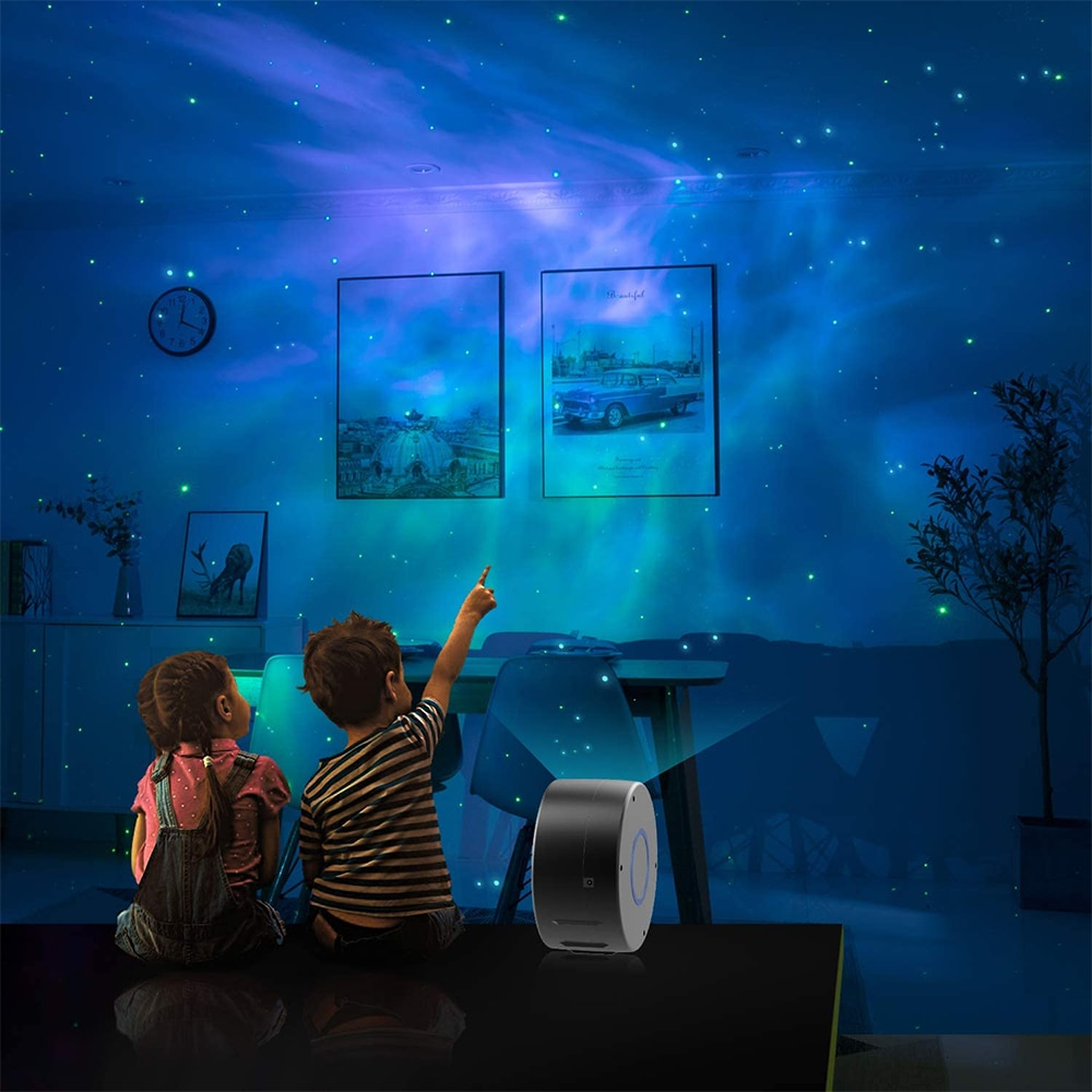 Colorful Starry Sky Galaxy Projector Light Rotating Water Waving Night Light Voice Control Music Player Romantic Projection Lamp enlarge