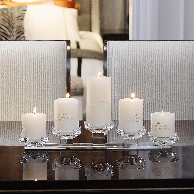 Candelabro de cristal nórdico de cinco cabezas candelero de cristal candelabro de cristal candelero de mesa de cristal para cena con velas