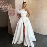 elegant white satin evening dress long red black prom gowns with pockets feather high side slit formal party cocktail dress