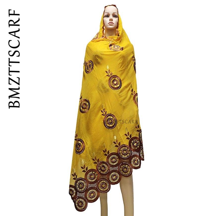 2020 último diseño circular de Mujeres Africanas 100% de algodón de gran tamaño bordado bufanda para chales BM987