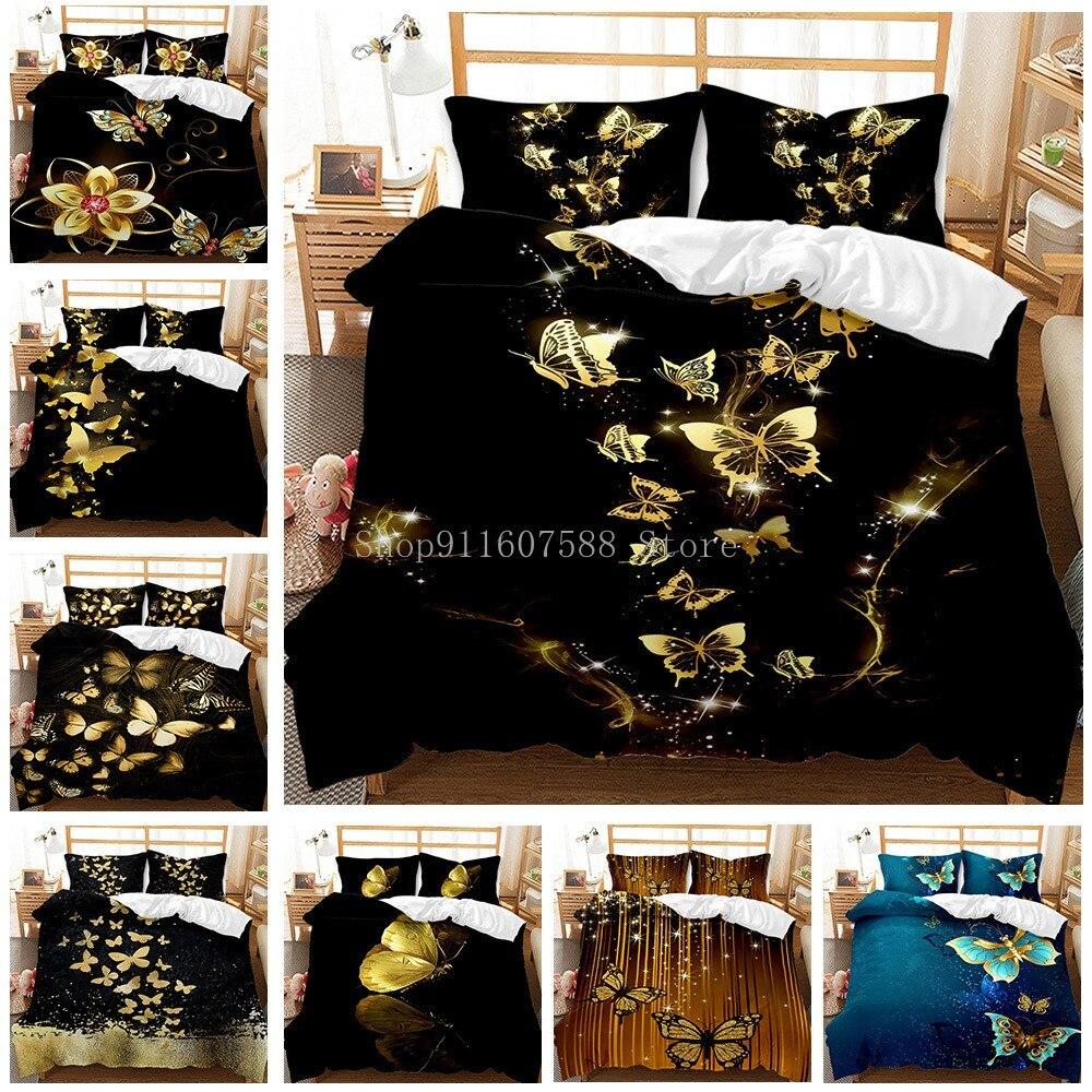 الذهب فراشة طقم سرير فاخر أسود حاف الغطاء 2/3 قطعة مفارش ثلاثية الأبعاد مطبوعة مجاميع راحة الفراش طقم سرير s للكبار طقم سرير لطيف