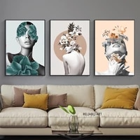 abstract flower woman canvas posters nordic wall art print canvas painting modern decorative picture for living room home decor