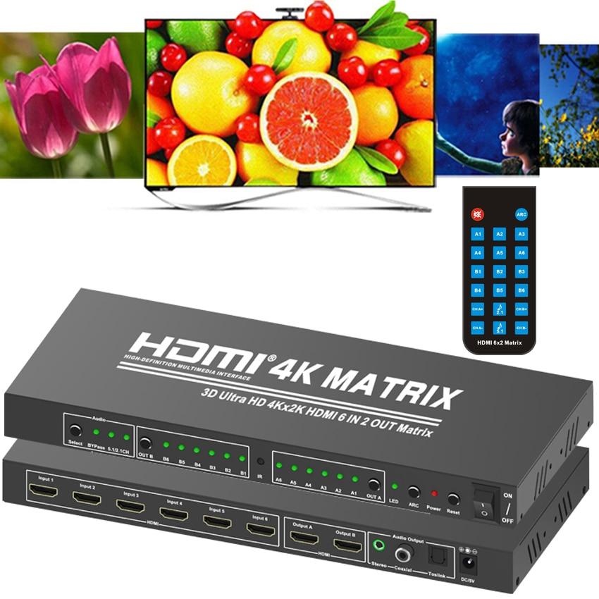 6x2 Matriz HDMI interruptor 4K x 2K 6 en 2 Matriz HDMI monitores del divisor del conmutador convertidor W/ Coaxial Toslink salida de Audio estéreo