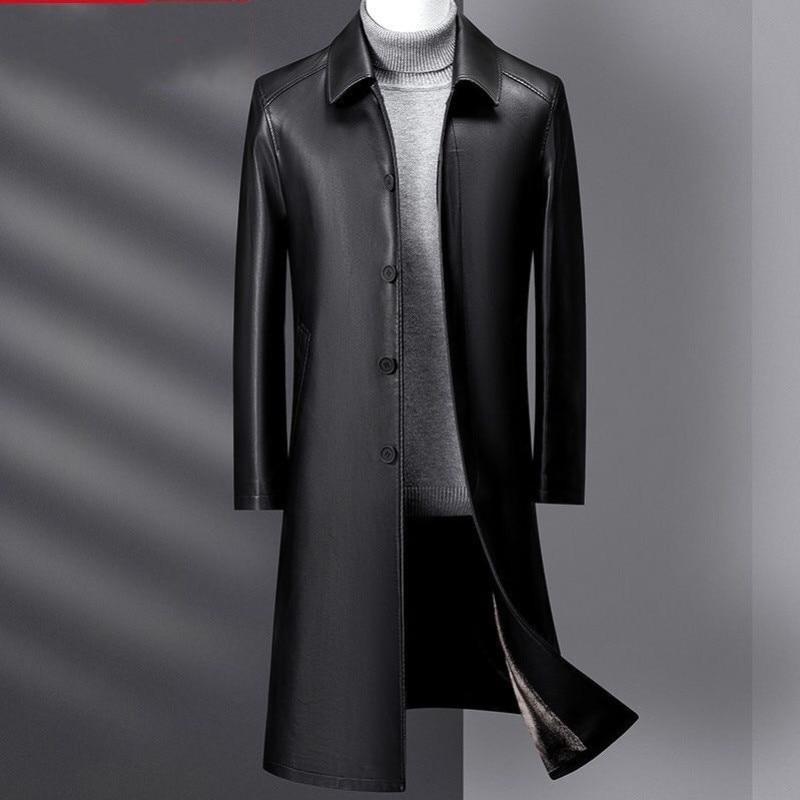 رجل الشتاء جديد خندق معطف الفرو حجم كبير سترة جلدية حقيقية رجل طويل الأعمال سترات جلد الغنم غير رسمية الذكور الملابس الجلدية