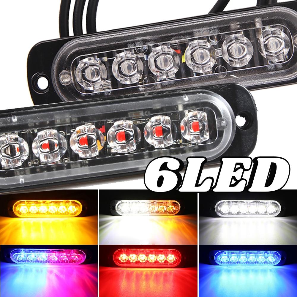 6 LED Flashing Light Flash Emergency Warning Light for Car Auto Truck SUV Motorcycle Side 18 Strobe Modes 12V-24V Bright Lamp