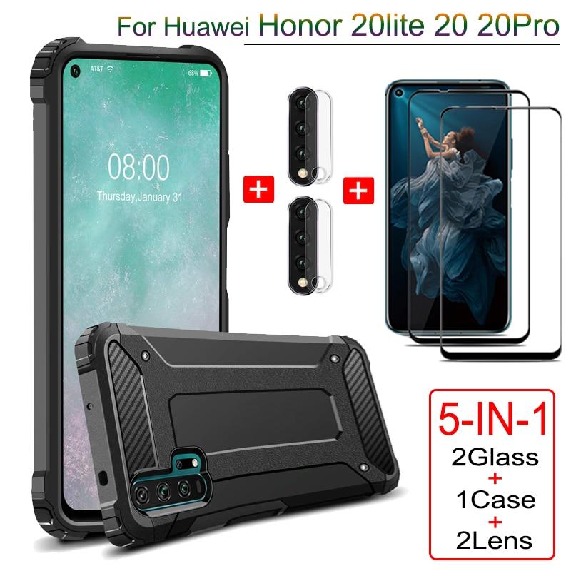 5-IN-1 hülle + folie für Huawei Honor 20 Lite Pro Rüstung handyhülle honor-20lite 20pro kamera film volle abdeckung hülle Honor 20 oro lite cover case