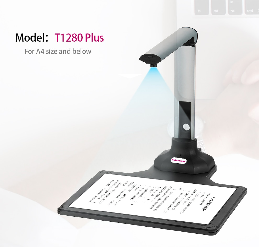 New Version Scanner T1280 Plus Book Document Camera 12 Mega-pixel Camera HD Capture Size A4 English Software For Office/School