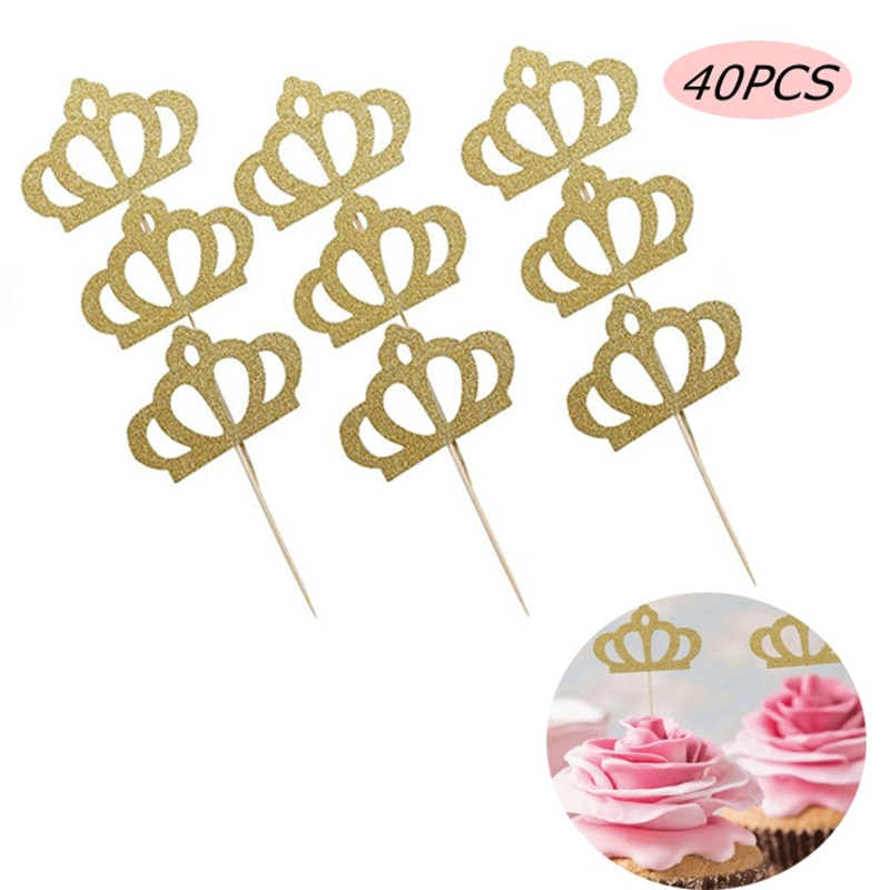 40 Uds coronas Brillantes Princesa Cupcake Toppers boda compromiso Baby Shower cumpleaños decoración postre torta Tooper selecciones