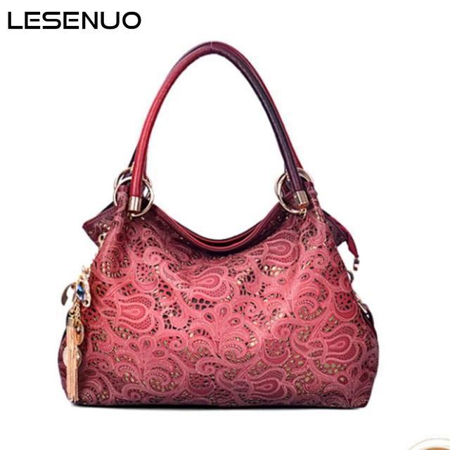 LESENUO Brand Designer Shoulder Bags PU Leather 2021 Fashion Vintage Handbags for Women 2021 Designer New Top Handle Bags