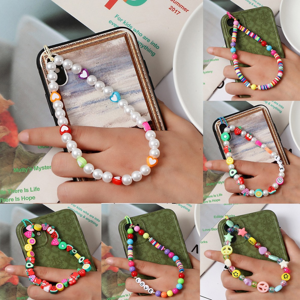 aliexpress.com - Fashion Letters Resin Beaded Mobile Phone Chain Pendant Ethnic Pearl Color Soft Ceramic Mobile Phone Lanyard Charm Hang Rope