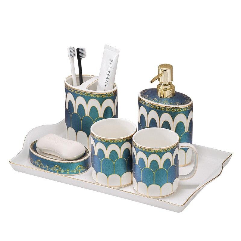 مجموعة الحمام مجموعة السائل موزع الصابون السيراميك/طبق فرشاة الأسنان حامل الغرغرة كوب مع صينية 6 قطعة هدايا الزفاف هدايا جديدة
