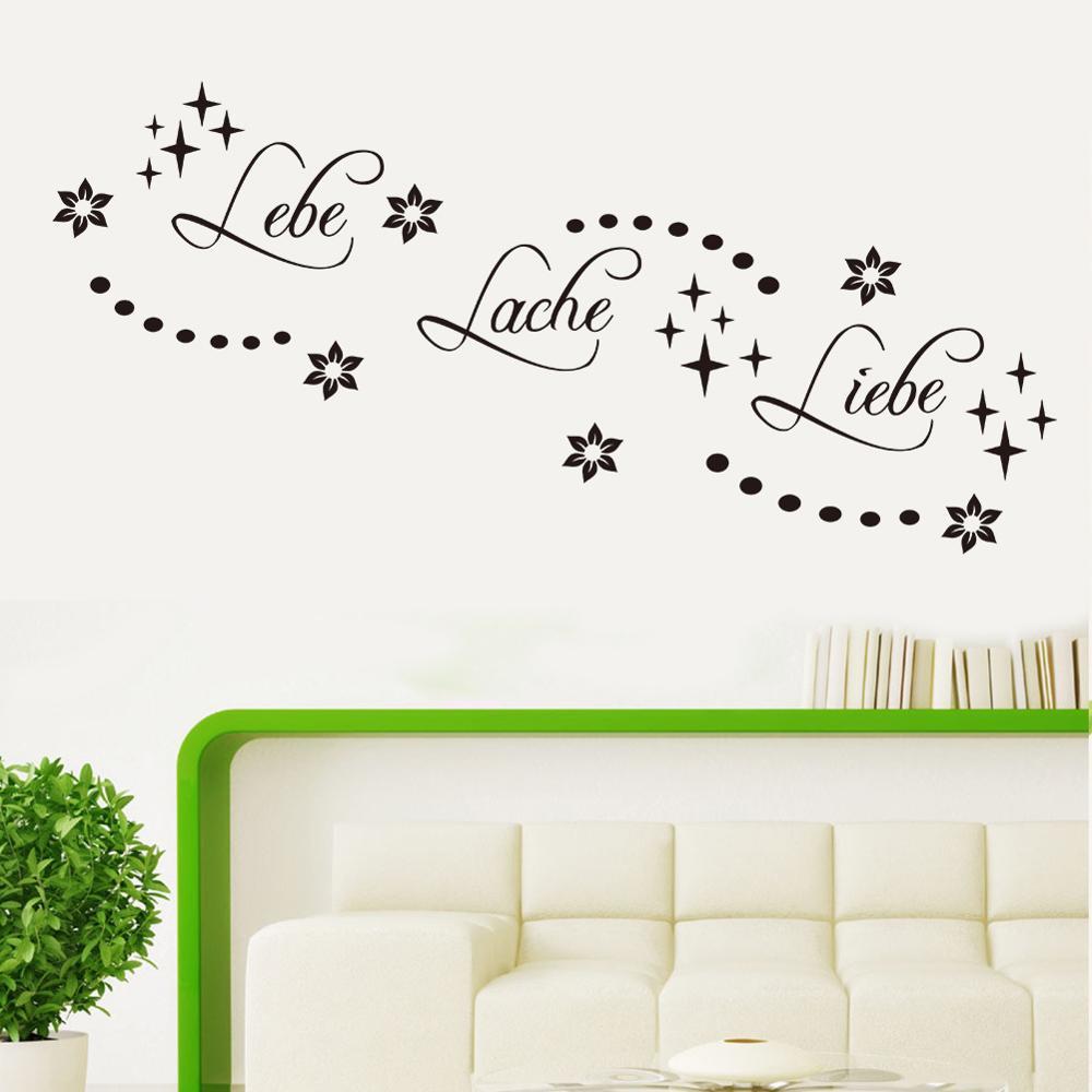 Citação palavra alemã lebe lache liebe adesivos de parede vinil papel de parede decoração da sua casa para sala estar fundo mural arte adesivo decoração