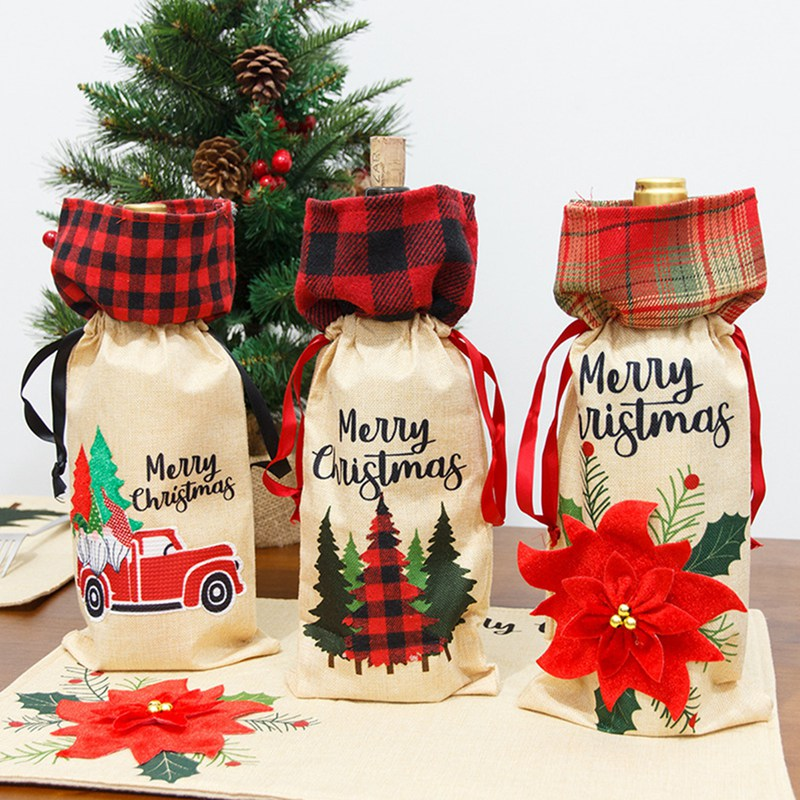 New Year Party Supplies NEW Christmas Red Wine Bottle Set Creative Santa Claus Snowman Decoration Li