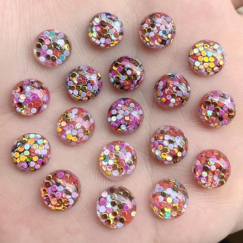 50 piezas nuevo brillo relleno resina lentejuelas redondas fondo plano colorido cristal piedras cabujón DIY boda decoración diamantes de imitación-HY262