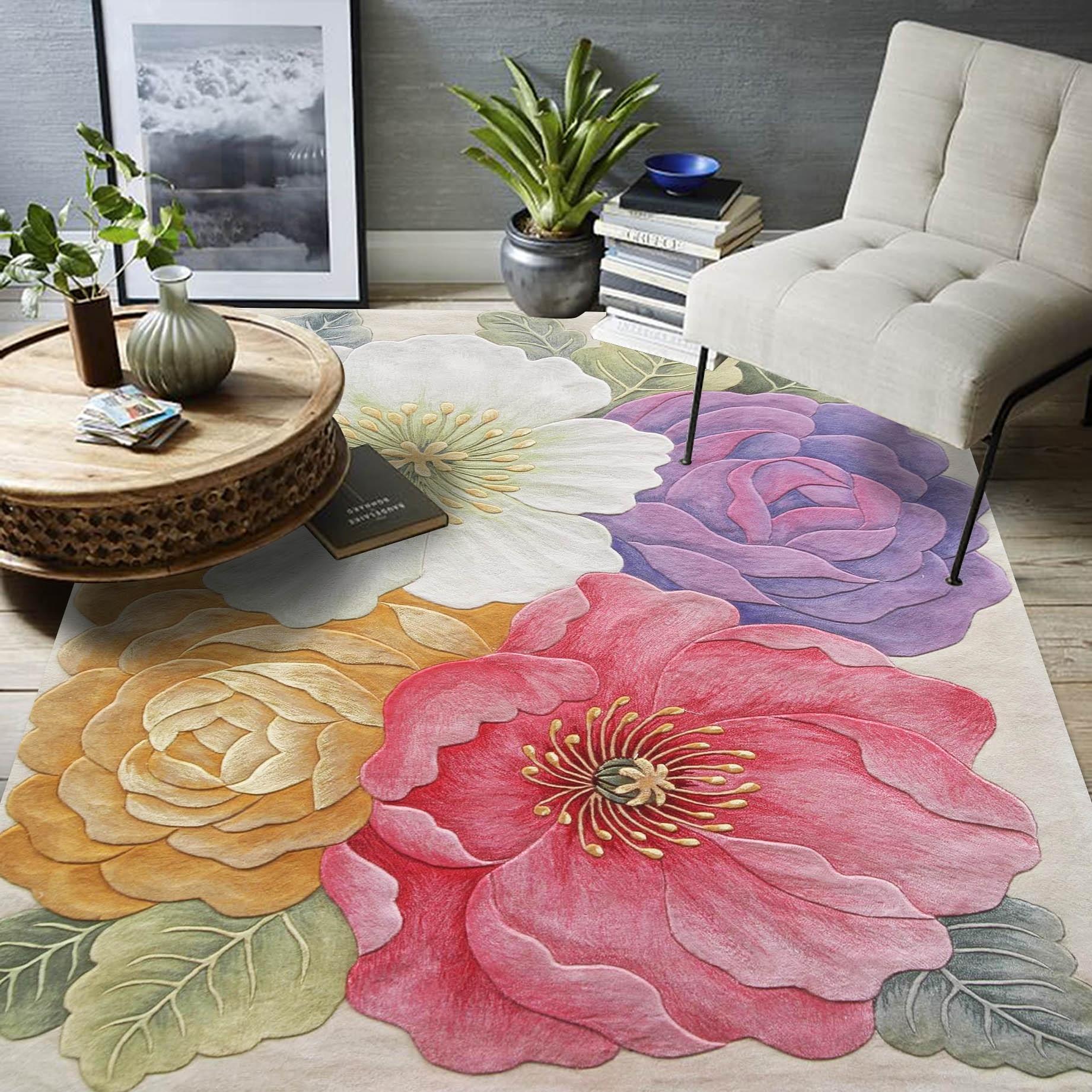 الوردي الورود الزهور على شكل 3D نمط 1.5 سنتيمتر سمك ألياف الاكريليك الطابق حصيرة ، خمر الديكور زهرة منطقة البساط