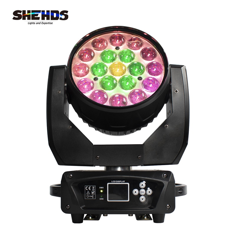 New LED 19x15W RGBW Beam+Wash Zoom Moving Head Light DMX 16/24 CH DJ Disco Part Church TV studio SHEHDS Stage Effect Equipment
