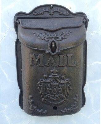 Estilo Rural Heavy Duty montado en la pared de hierro fundido buzón de correo de Metal carta periódico caja de correos rústico Postbox Gardon Yard Decoración