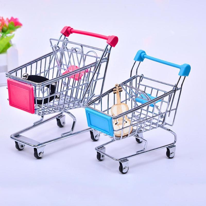 Supermercado Carro de mano Mini carro de compras decoración de escritorio de almacenamiento de juguete para regalo creativo para el hogar de Metal de almacenamiento de carros de supermercado de juguete