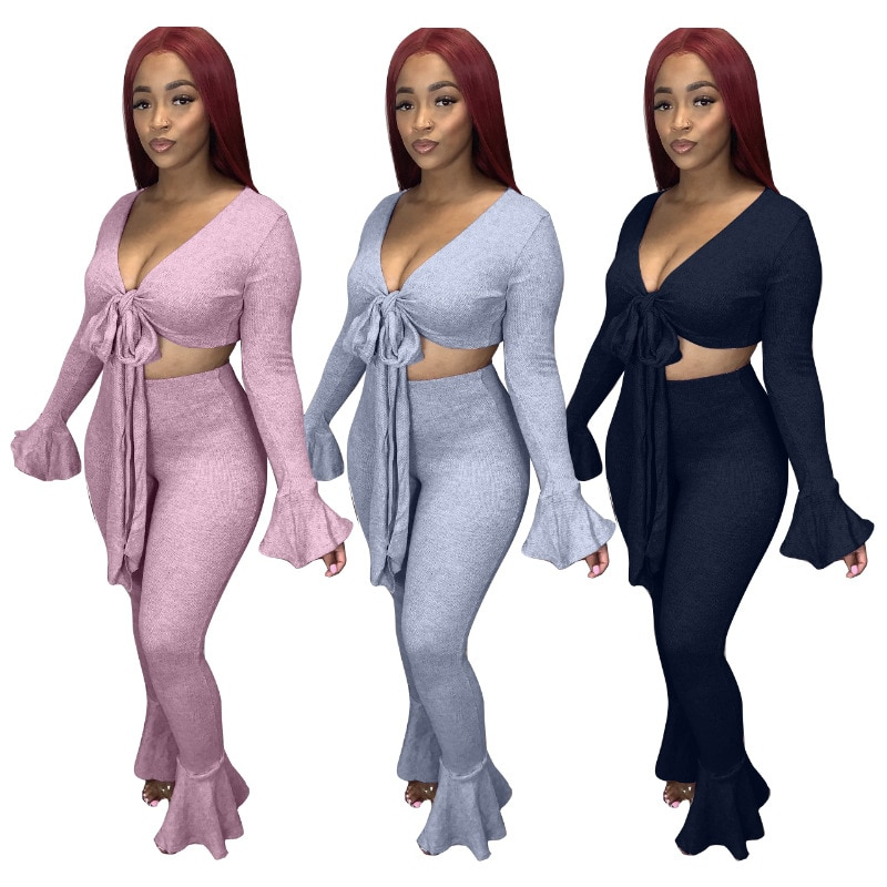 RStylish Women Two Piece Set Sexy Wrapped Chest Flared Sleeve Crop Top bell-bottoms Pants Suit Casual Tracksuit Clubwear Outfits