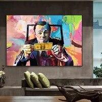 canvas art wolf of wall streetleonardo dicaprio money art money talks wall street printed painting on canvas for living room