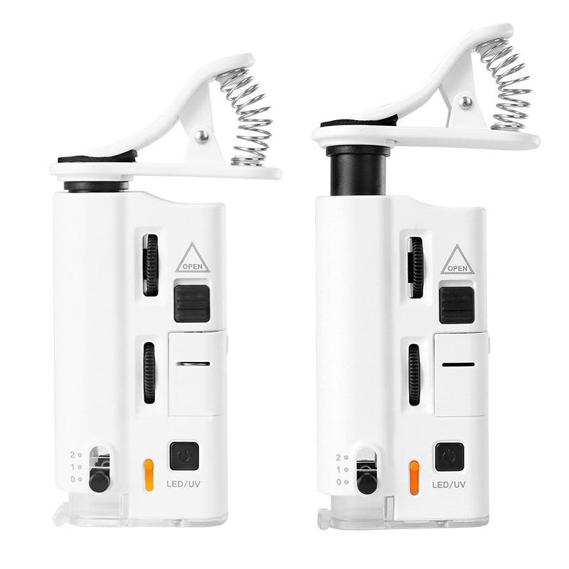 Universal 60x-100x telefone móvel microscópio lupa jóias identificação lente ajustável zoom celular clipe com luz led