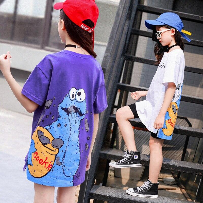 Camiseta para niñas, camisetas de grafiti de dibujos animados, Tops de manga corta por el trasero, jerséis de verano para niños, vestido largo, blusa a la moda para chicas adolescentes