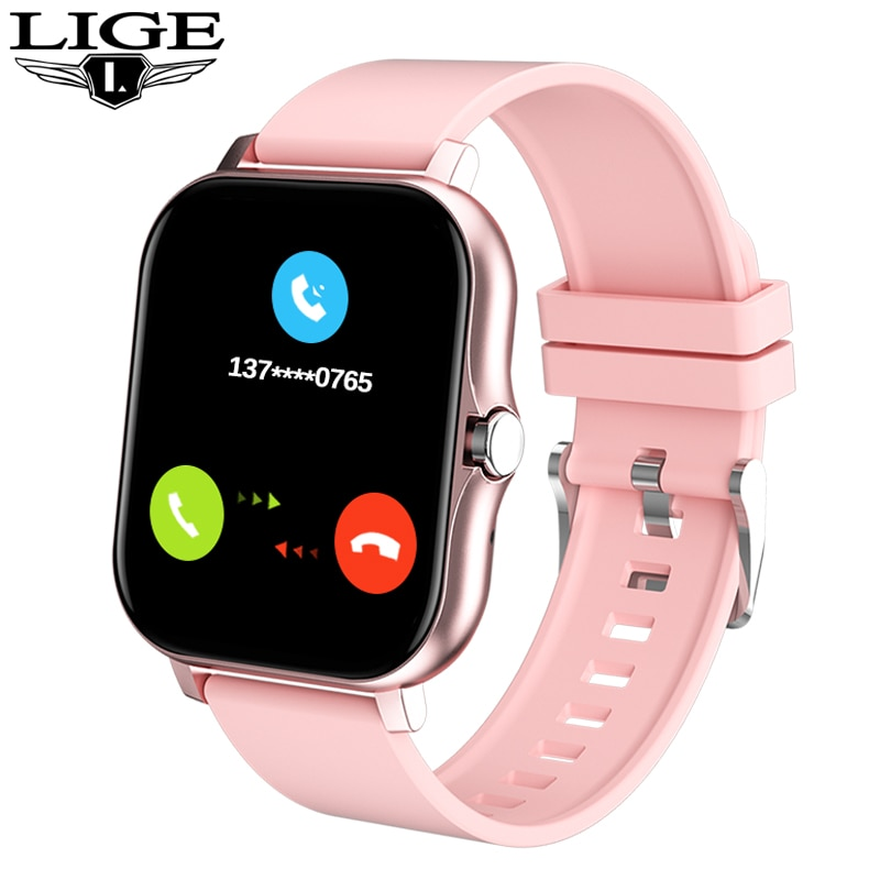 LIGE New Women Smart Watch 1.69 Color Screen Full Touch Fitness Tracker Call Smart Clock Ladies For