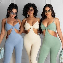Summer New Women's Solid Color Threaded One-piece Sling Leaky Waist Trousers Casual Yoga Fitness Spo