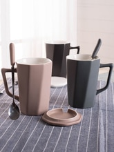 Couverture de tasse à café Simple européenne et cuillère bureau créatif tasse à café réutilisable ensemble en céramique Tasas bouteille deau maison BA50MK