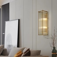 modern luxury crystal wall lamp cuboid crystal rod decor bedside lamp living room bedroom hotel background wall light fixture