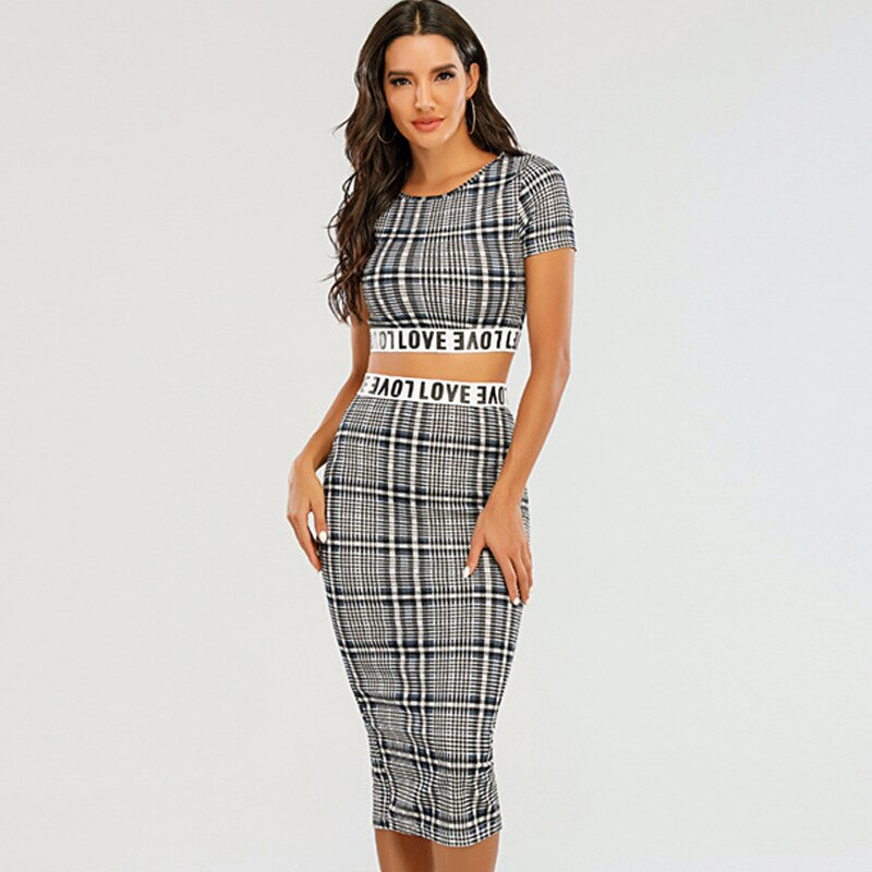 2021 Plaid Knitted Two-Piece Suit Sexy Summer Dress Women Elegant Female Fashion Party Short
