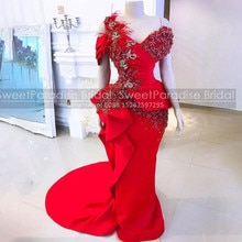 2021 Feather Beads Red Evening Dresses Ruffles Mermaid Appliques One Shoulder Women Long Sweep Train