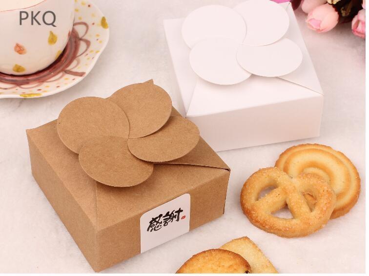 20 piezas Caja de Regalos de bricolaje, caja de papel Kraft blanco para galletas caja de pastel pequeña caja regalos de boda caja de regalo