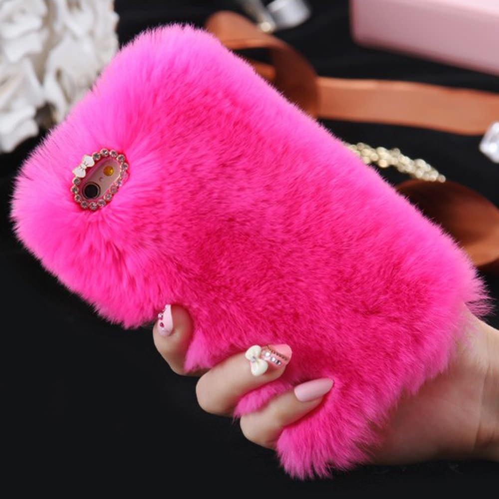 Funda de teléfono L-FADNUT de piel suave y esponjosa para iPhone X Xr Xs 11 Pro Max 5 5S SE 2020 Diamante de lujo 6S 6 7 8 Plus Girl Cover Soft 360