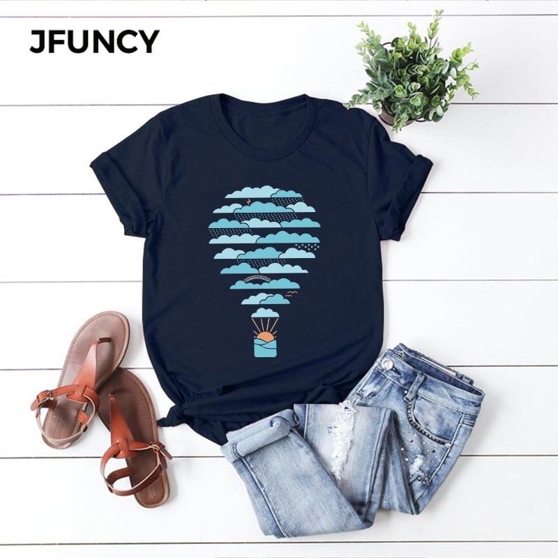 Женская футболка JFUNCY Weather, хлопковая Футболка большого размера с принтом воздушного шара, летняя футболка с коротким рукавом, Повседневная футболка