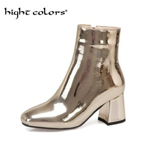 2020 New Sliver Gold Women Ankle Boots Square Toe Chunky High Heel Boots Mirror Metallic Women Pumps Female Sexy Women Boots