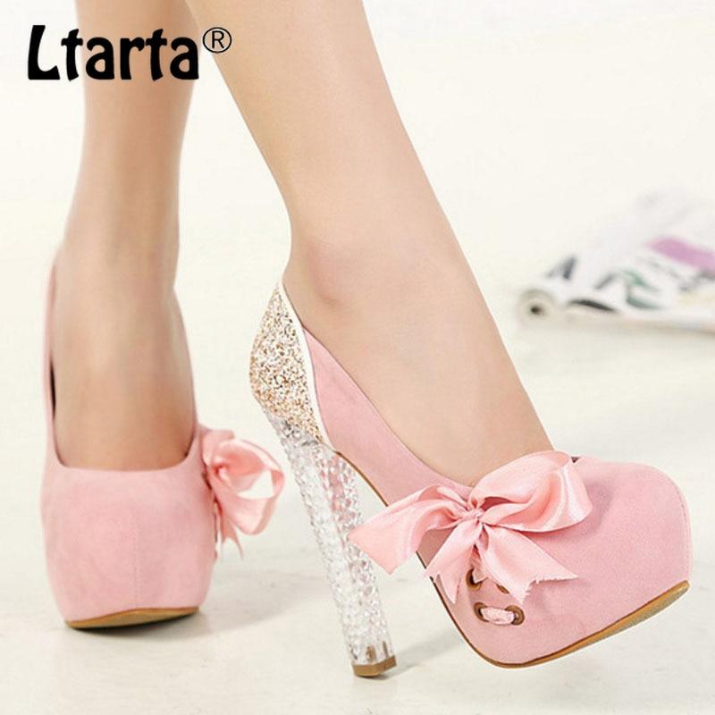 LTARTA, bombas de verano para mujer, tacón alto de cristal, plataforma impermeable para zapatos, costura de gamuza, cinta con lentejuelas, hy9188-6-CWF