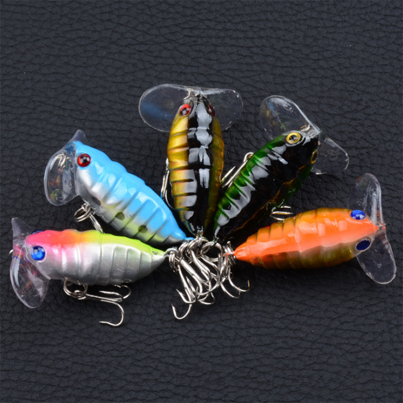 5Pcs/Set Hot Sale High Quality Fake Bait 4cm/4.4g Artificial Plastic Hard Fishing Lures Float Insect 3D Eyes