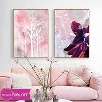 Toile de decoration de noel  affiches de peinture  feuille rose  bois  tableau dart mural pour salon  decoration de maison
