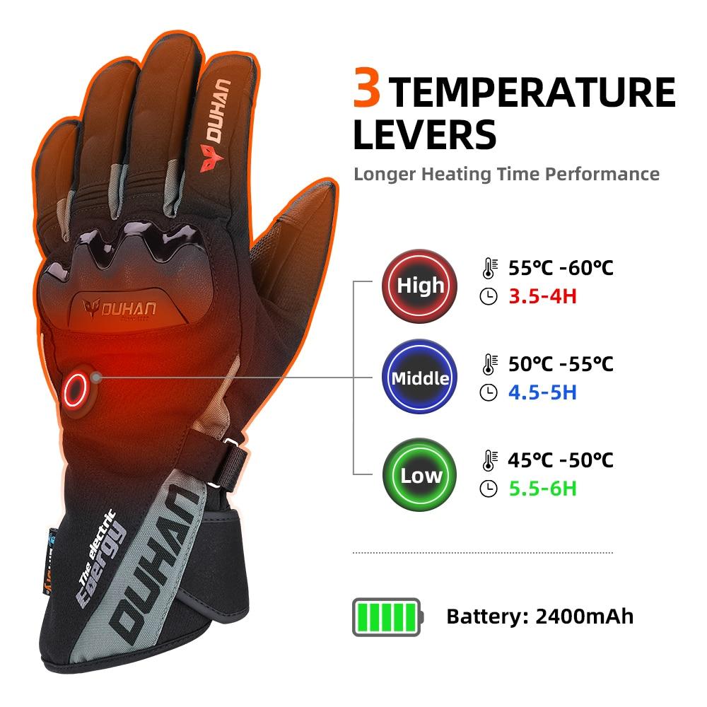 KEMIMOTO Electric Heating Snowmobile Snowboard Ski Gloves Snow Mittens Windproof Waterproof Men Women Snowboarding Skiing Gloves