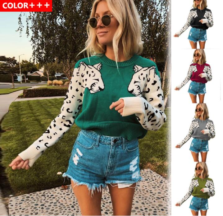 women hooded sweater km083 2020 fashion letter pattern long pullovers female autumn winter sweaters loose knitting tops Autumn Knitted Cropped Sweater for Women Leopard Pattern Long Sleeve Knitting Sweaters Pullovers Female 2021 Winter Loose Jumper