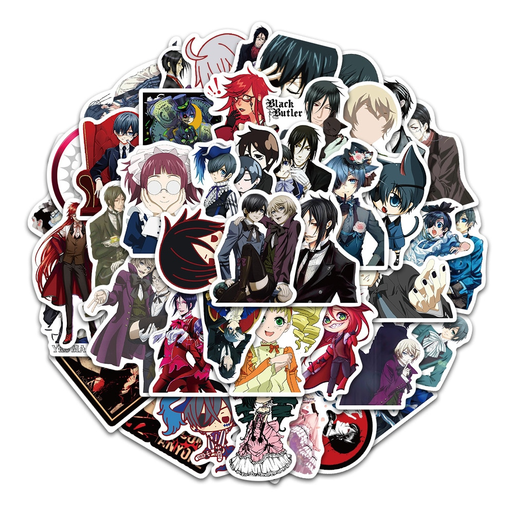 10/30/50PCS Black Butler Sticker Pack for Children Gift Cartoon Anime Stickers To Stationery Laptop Suitcase Guitar Fridge Decal