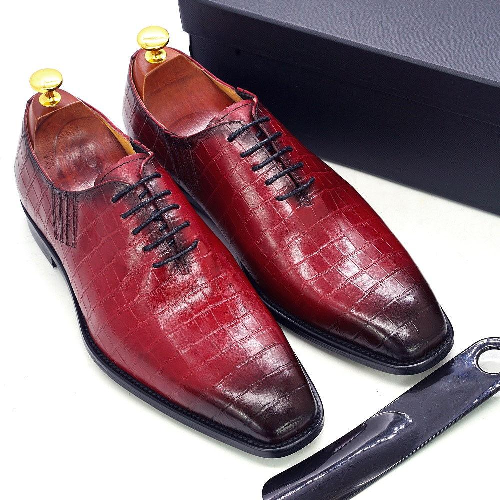 Big Size 6-13 Handmade Mens Oxford Shoes Genuine Leather Crocodile Print Men's Dress Shoes Classic Business Formal Shoes for Men