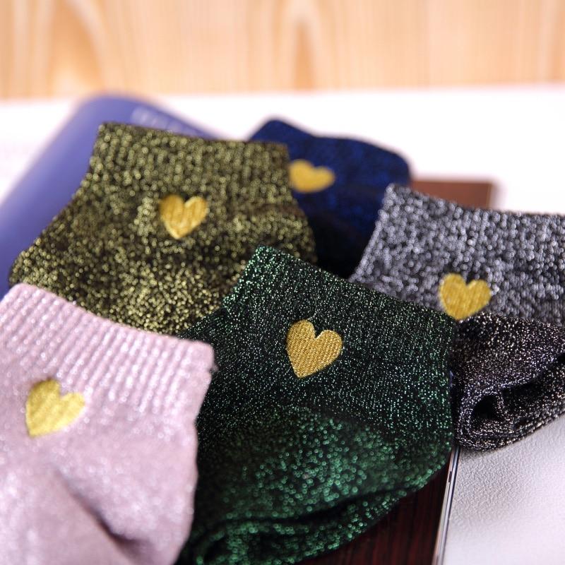 Calcetines de purpurina para mujer, calcetines cortos de 5 pares, Pack de moda, corazón bordado, tobillo brillante, juego de calcetines, filigrana, medias Kawaii para mujer