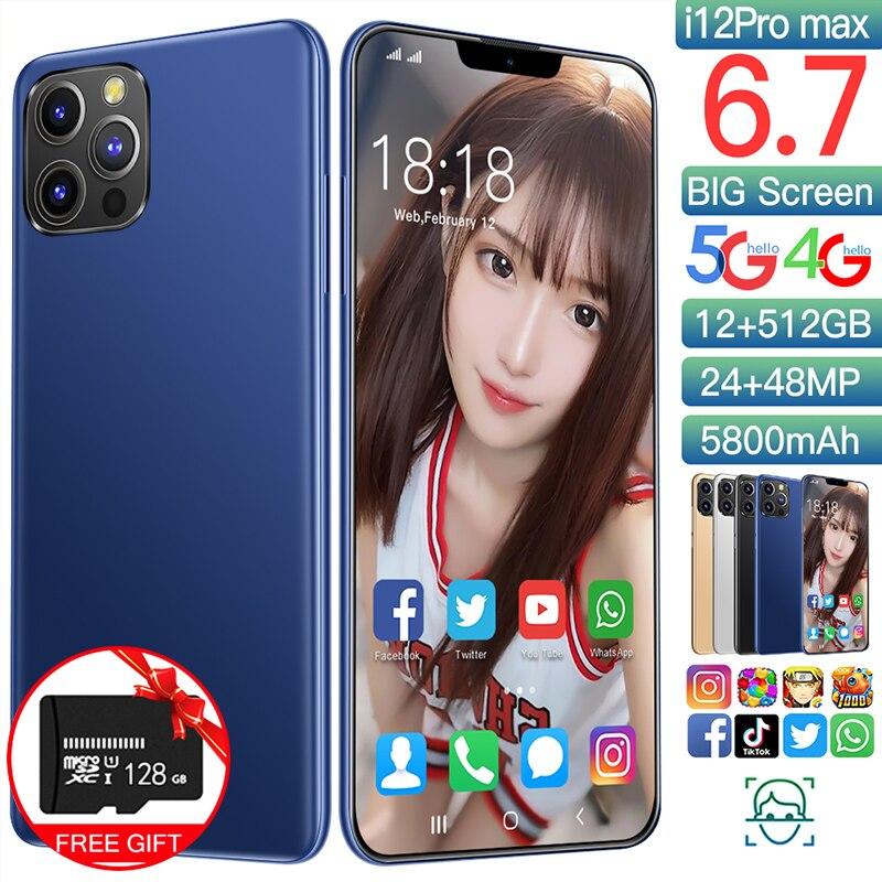 الإصدار العالمي I12 Pro Max 6.7 بوصة 12 + 512GB الهاتف الذكي Andorid 10 دعم جوجل اللعب الوجه معرف المزدوج سيم 4G 5G شبكة الهاتف المحمول
