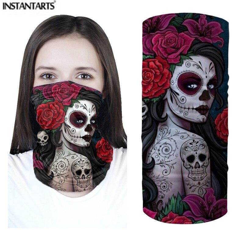 Bufandas instantáneas con diseño de calavera de azúcar para chicas, bufandas para mujeres, bufandas antisaliva para exteriores sin costuras, bufandas Unisex para festivales