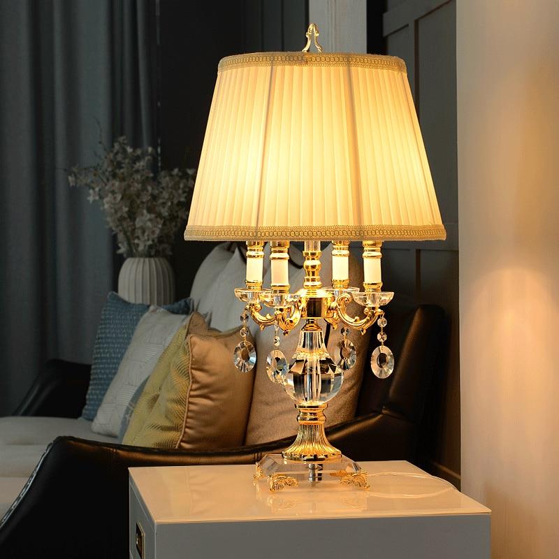 Moda de luxo moderno cristal claro candeeiro mesa cabeceira quarto lâmpada d42cm h70cm clássico decoração moderna conduziu a lâmpada mesa