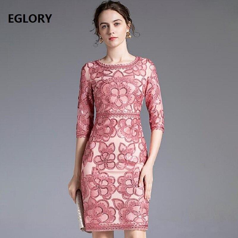 5XL 4xl Vestidos De Fiesta 2020 otoño mujeres o-cuello Allover Appliques bordado lentejuelas Deco 3/4 manga Bodycon vestido